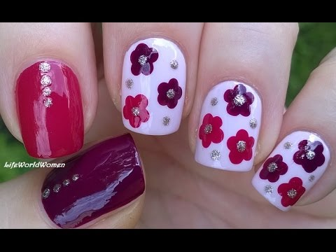 Easy Flower Nail Art Tutorial Burgundy Pink Dotting Tool Nails