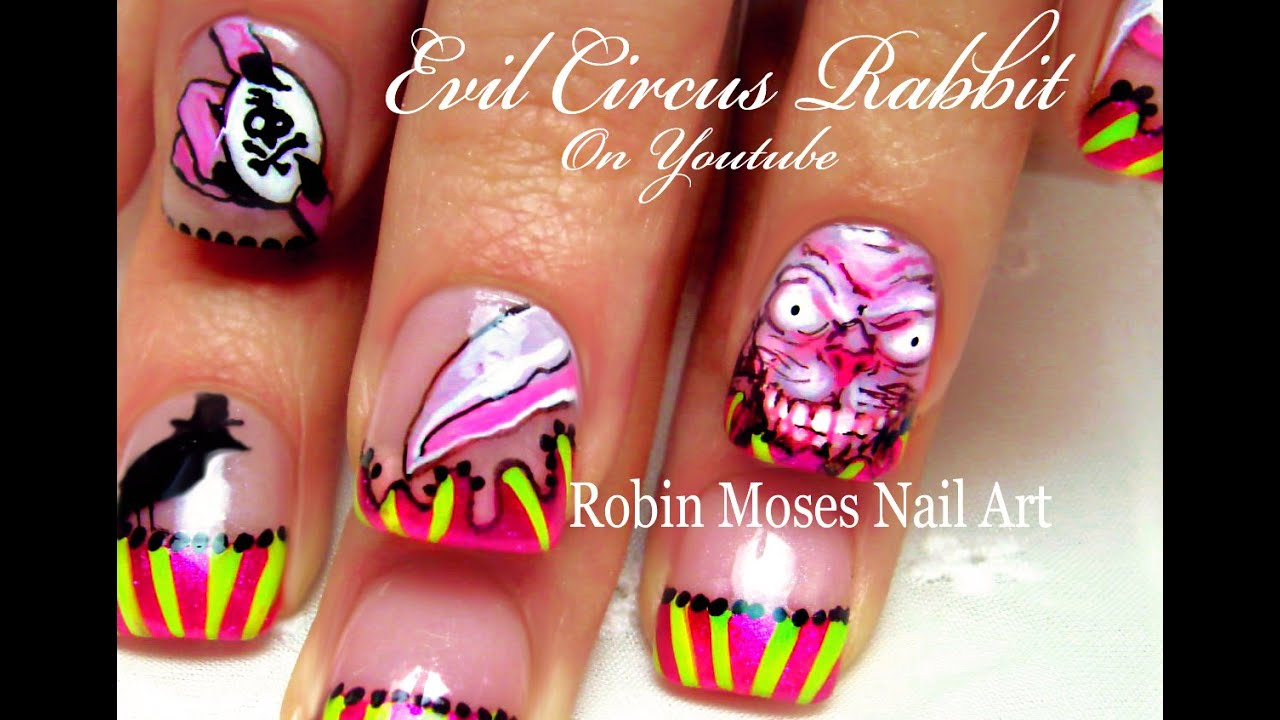 Diy Circus Nails Scary Rabbit Nail Art Design Youtube