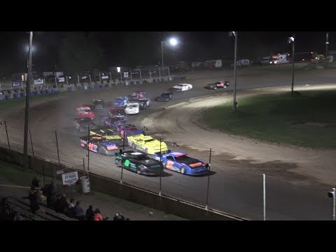 A Feature 1 (25 Laps): 70-Josh Sternberg, 9T-Ryan Teeter, 17-Brad Roberts, 99-Kyle Hunt, 25-Brandon Cunningham, 57-TJ Gilbert, 36-Jeremy Spencer, ... - dirt track racing video image