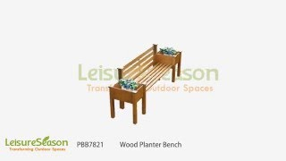 PBB7821 Wooden bench with backrest and two planter boxes