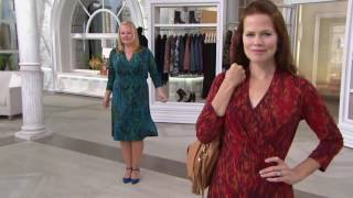 Liz Claiborne New York Printed Midi Length Wrap Dress on QVC