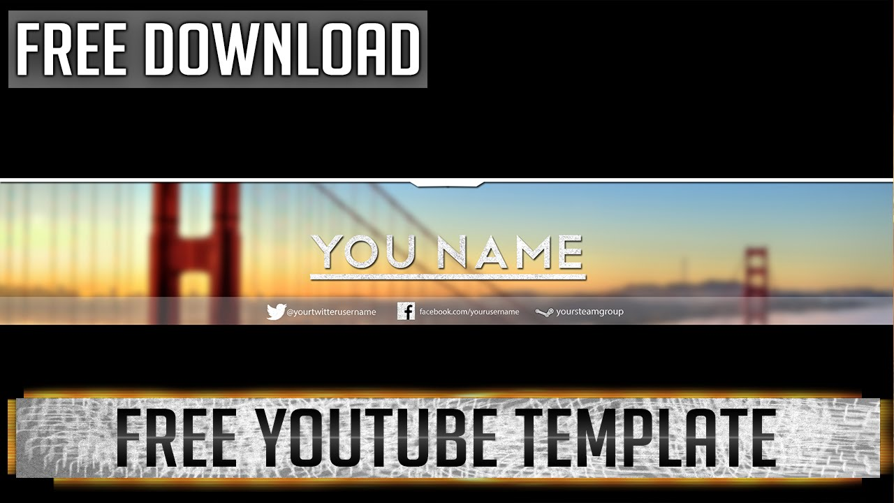 free youtube templates - professional youtube banner photoshop template free