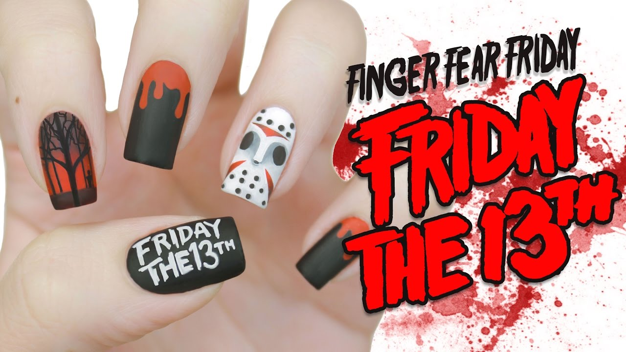 Friday the 13th Halloween Nail Art | FINGER FEAR FRIDAY - YouTube