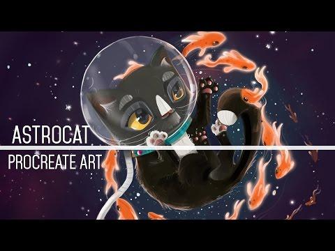 Astrocat - Procreate Art Timelapse with iPad Pro 9.7