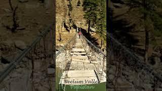 Crossing dangerous broken Bridge in Kel, Neelum Valley, Kashmir