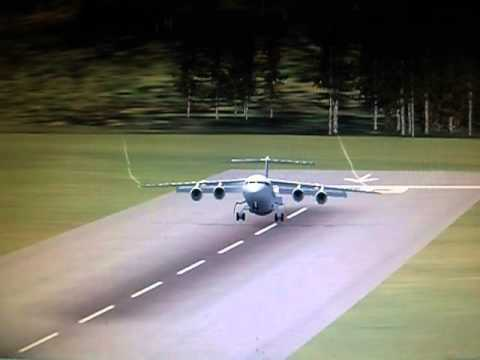 BAE146 Landing In The Switzerland Mountains (Flight Simulator X)