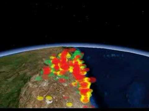 3d earthquake positions in World Wind