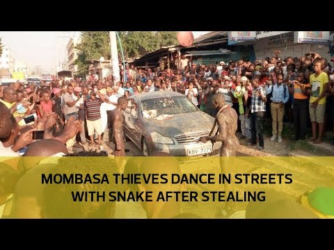 Mombasa thieves dance in streets with snake after stealing
