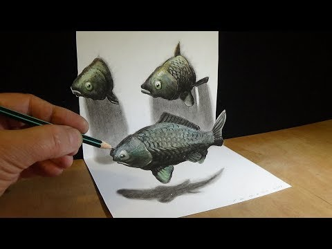 Drawing 3D Fishes Illusion - How To Draw Fishes In Three Dimension - Trick Art
