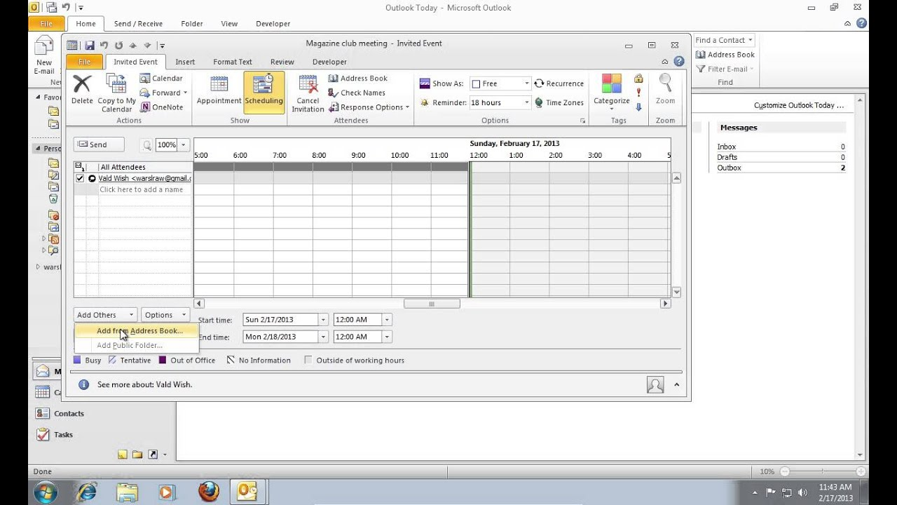 How to Create an Outlook 2010 Calendar Invite YouTube