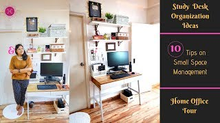 10 Study Table Organization Ideas & Decor Tips / Small Space Desk Organization / Home Office Tour