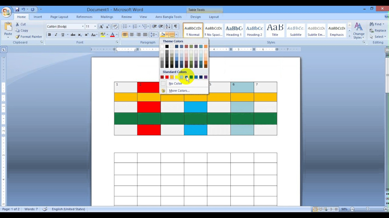 Microsoft Word 2010 Change Table Background Color