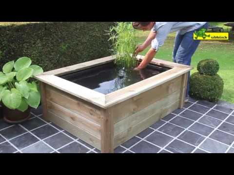 Ubbink terrasvijver quadra woodframe youtube for Terrasvijver maken