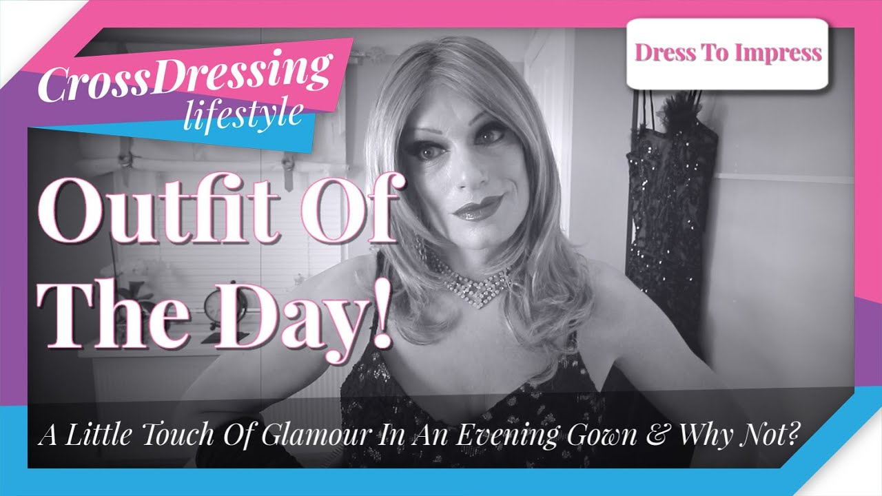 Crossdressing glamour outfit of the day long black and gold evening gown | Crossdressing elegance