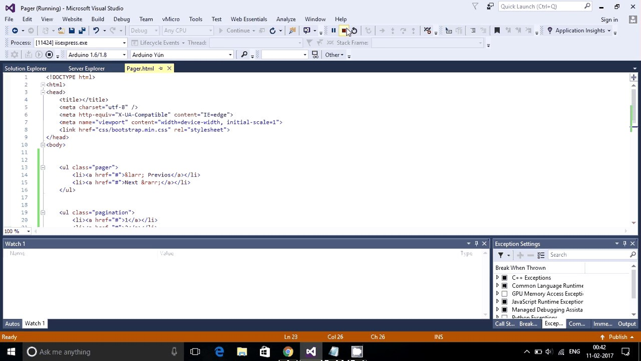 Add previous and next page link in html asp net c 5 0
