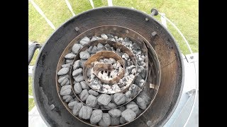 Modified Weber Kettle with Cajun Bandit Extension Ring, using the Slow Burn Charcoal Basket