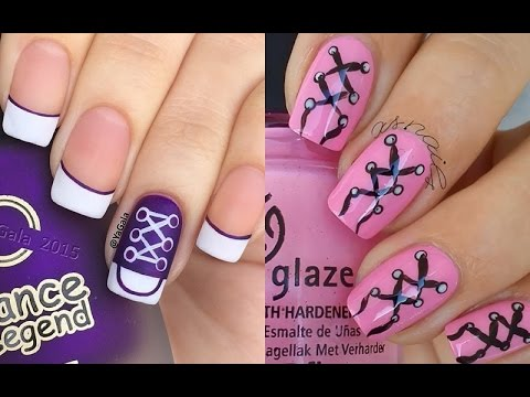 Ballerina And Sneaker Shoes Nail Art Tutorial Step By Step Youtube