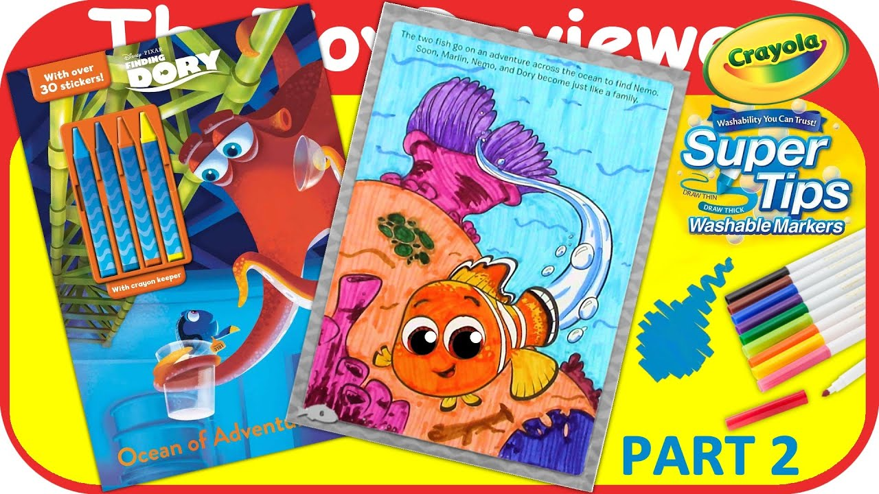 Part 2 - Finding Dory Coloring Book Nemo Marker Unboxing Toy Review by  TheToyReviewer