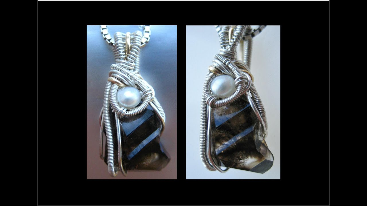 How to make Wire Wrapped Pendant Mooralla Crystal TUTORIAL - Liz ...