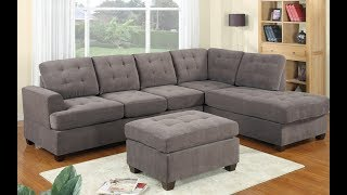 Grey Tufted Sectional Sofa