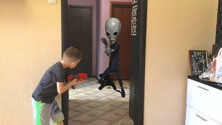 NerfGame Alien vs Bogdan НЕРФ игра Вторжение ПРИШЕЛЬЦЕВ 2
