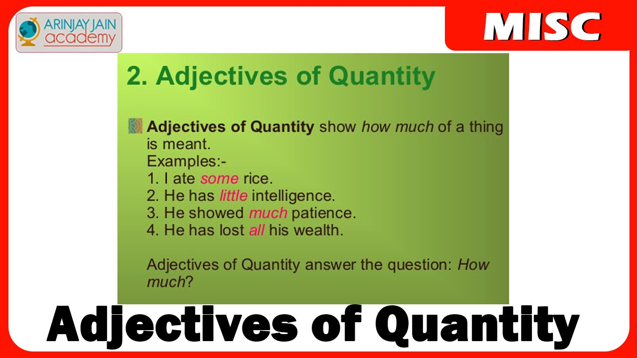 Adjectives Of Quantity English Youtube
