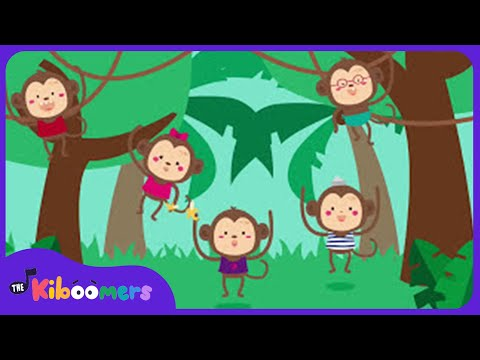 Five Little Monkeys Swinging in a Tree Song for Kids | Fun Songs for Children | Kiboomers