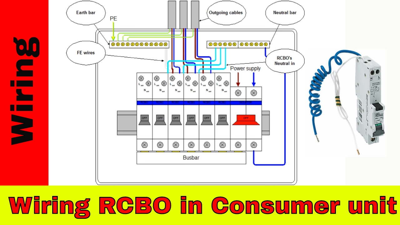 How to wire RCBO in consumer unit (UK). RCBO wiring. Hager Rcd Wiring Diagram on