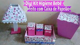 Kit Higiene Bebê Feito com Caixa de Papelão Por Carla Oliveira