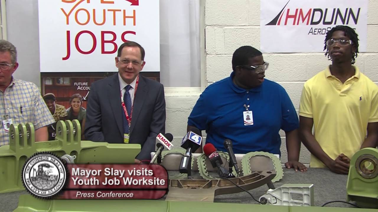 Mayor Slay visits STL Youth Jobs worksite at HM Dunn Aerospace