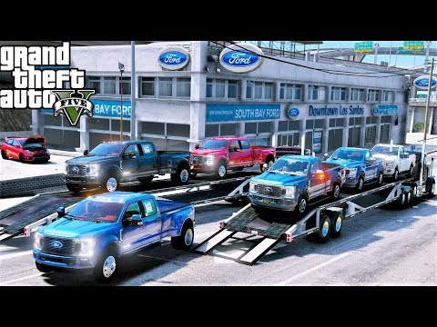 GTA 5 Real Life Mod #124 Delivering New 2020 Ford F-250 & F-350 King Ranch To My Ford Car Dealership