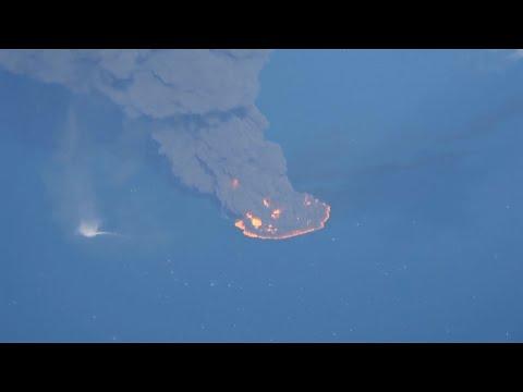 Oil tanker ablaze for nine days sinks