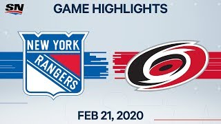 NHL Highlights | Rangers vs. Hurricanes - Feb. 21, 2020