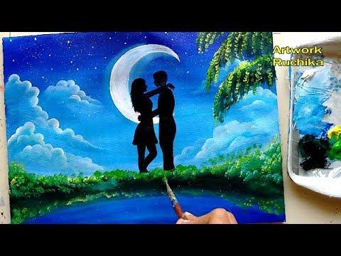 Moon Light Couple Painting | Valentine Romantic Painting | Acrylic Painting