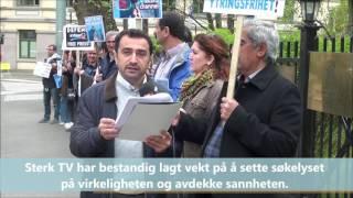Protest markering mot Eutelsat foran den franske ambassaden i Oslo.