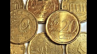 20 euro cent Italy Austria Germany Spain Netherland Slovakia France 1999 2002 2011 40 coins