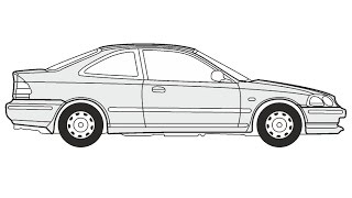 How to Draw a Honda Civic Coupe / Как нарисовать Honda Civic Coupe