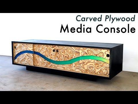 """DIY Carved Plywood Modern Media Console w/ Epoxy Resin """"River"""" (or TV Stand)"""