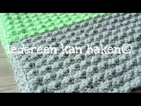 Iedereen Kan Haken Crochet Golfjessteek Woondeken Blanket Stitch