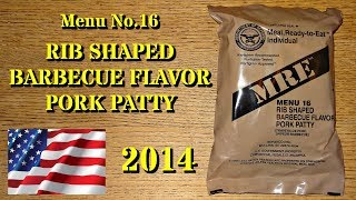 MRE Review: 2014 Menu No.16 Rib Shaped Barbeque Flavor Pork Patty