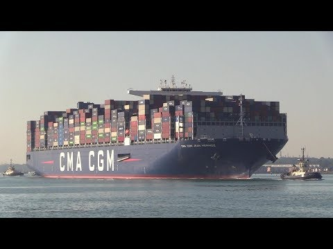 "Maiden arrival of Container Ship ""CMA CGM  Jean Mermoz"" 2018 Build Southampton  08/07/18"