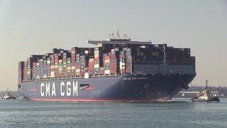 "Maiden arrival of Container Ship ""CMA CGM  Jean Mermoz"" 2018 Build Southampton  08/07/18"