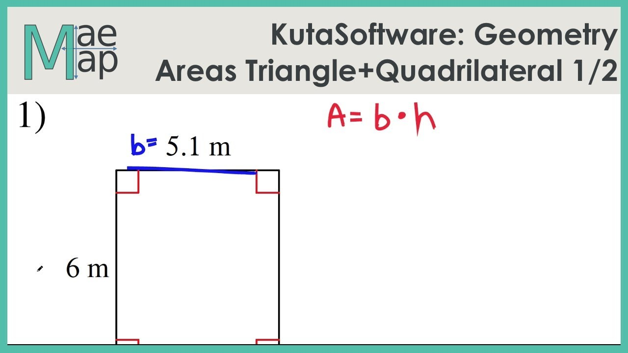 KutaSoftware: Geometry- Area Of Triangles And Quadrilaterals Part 1