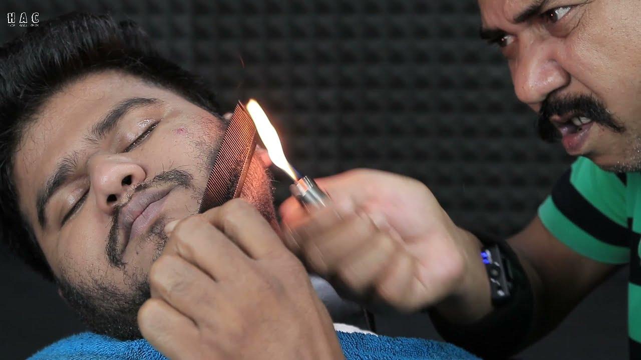 Asim Barber Fire Beard Trimming ASMR | Beard Scratch | Blackheads Removal | Neck Crack | Ear Itching