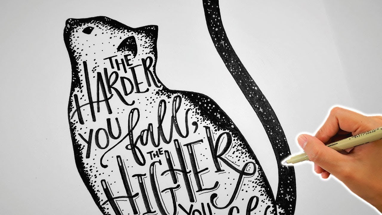Cat Doodle | Letter With Me | Cat Drawing with Handlettering