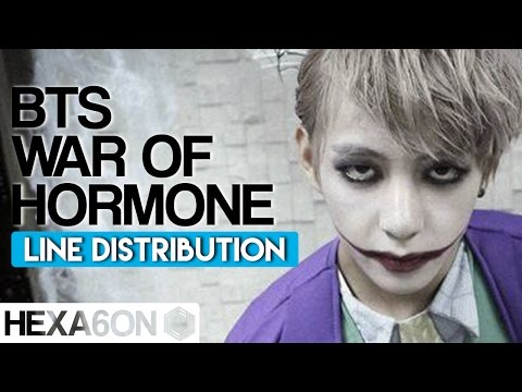 BTS - War of Hormone Line Distribution (Color Coded)