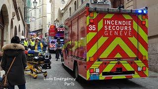 Pompiers de Genève en Urgence, Geneva Fire Dept responding and on scene