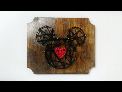 Valentines Day Themed Mickey Mouse String Art