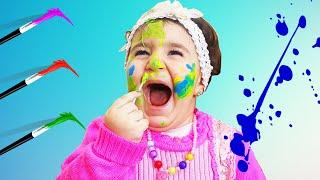 Celina Paint colors on Hasouna face - سيلينا تلون وجه حسونة