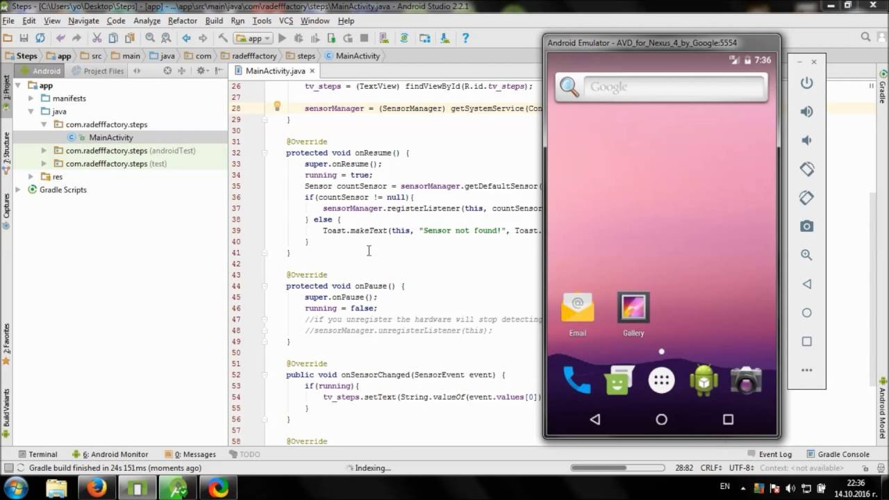 Develop simple Step Counter in Android Studio